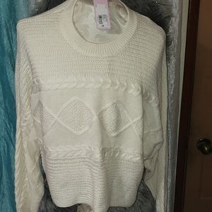 2x plus size white sweater new